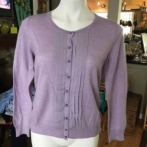 Talbots silk lavender cardigan